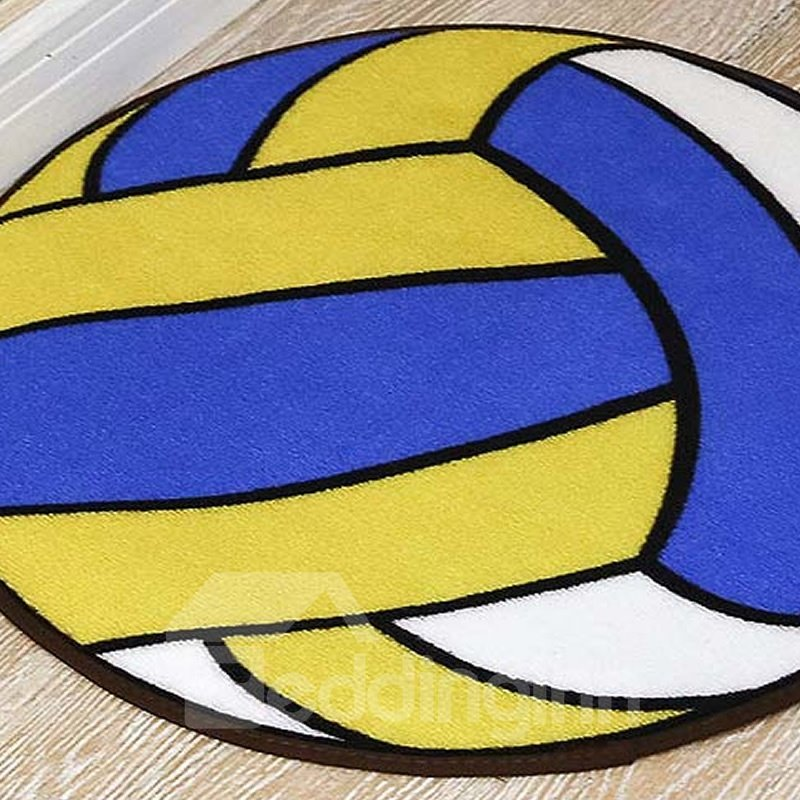 Volleyball Pattern Round Shape Polyester Baby Play Floor Mat/Crawling Pad