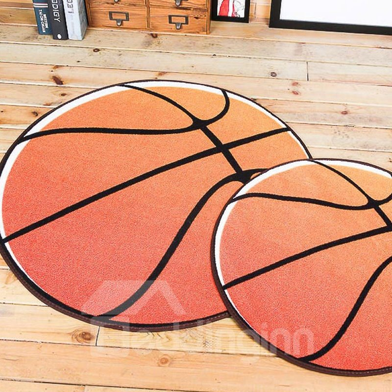 Basketball Pattern Round Shape Polyester Brown Baby Play Floor Mat/Crawling Pad