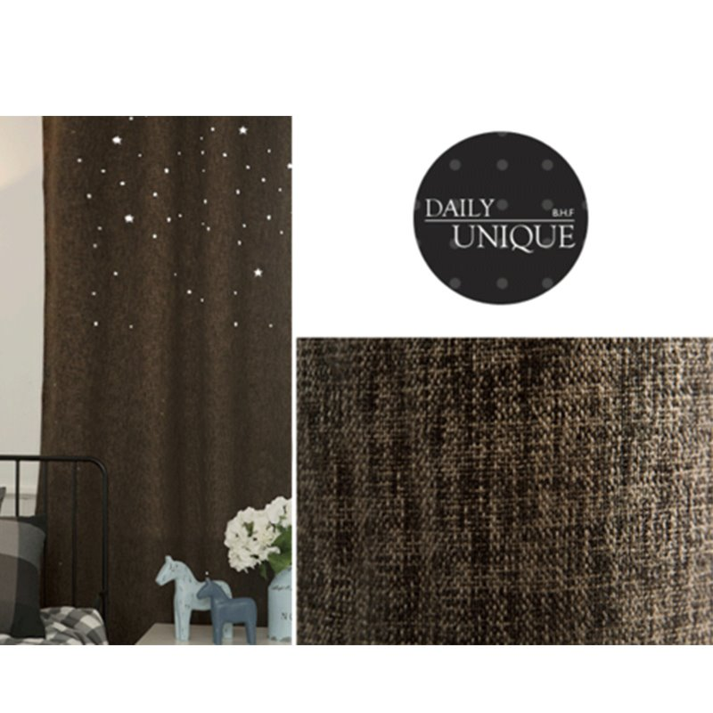 Blackout Polyester Korean Style Small Stars Solid Color Grommet Top Room Curtains