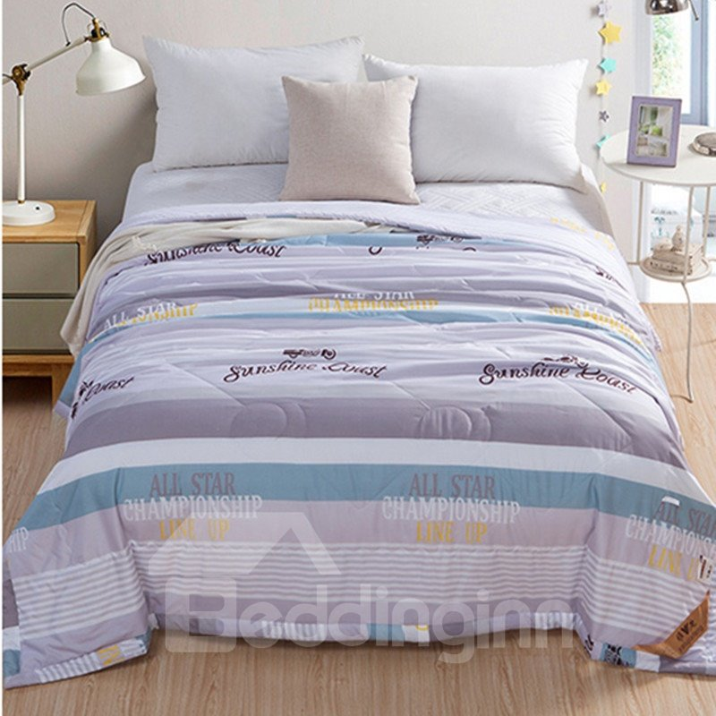 Grey Sunshine Coast Pattern Polyester Lightweight Summer Quilts