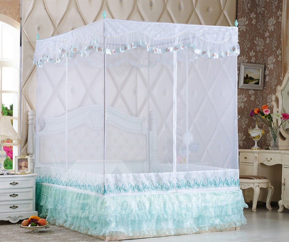 Aulic Style Square-Roof and Three Openings Polyester Bed Nets