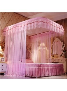 Princess Style U-Shape Rail Stainless Steel Bracket Polyester Bed Nets