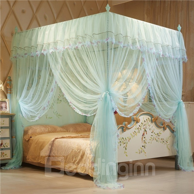 Three Openings Four Corner Post Luxury Style Polyester Mosquito Bed Nets