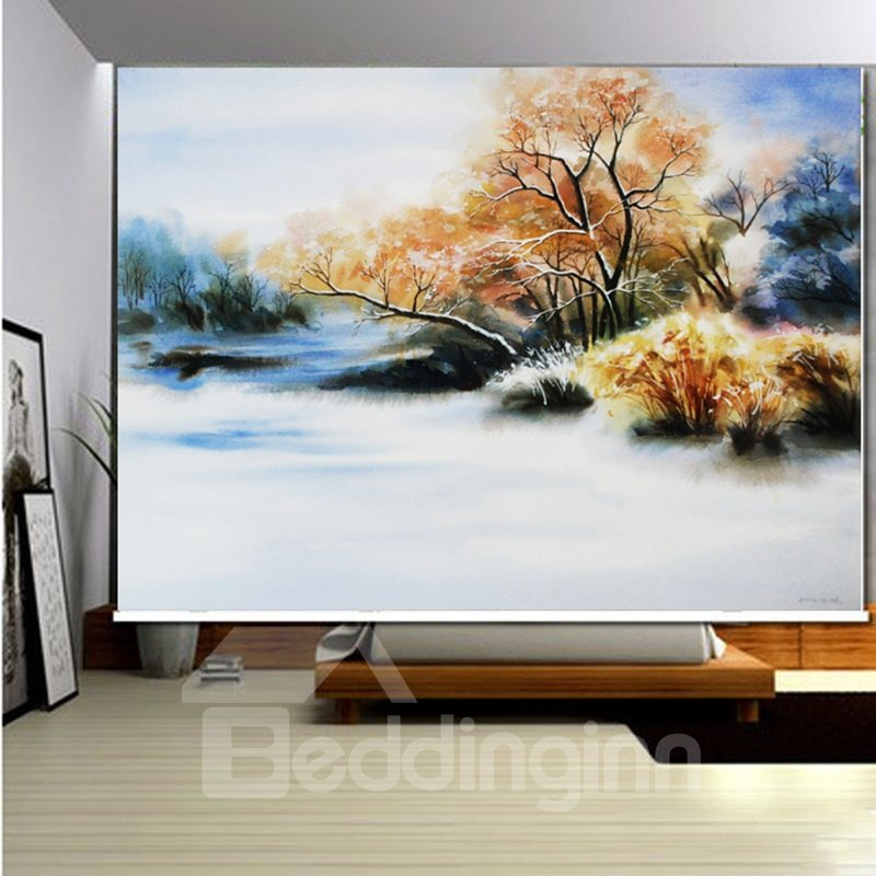 3D Printed Misty Lake and Yellow Trees Water Color Painting Decoration Roller Shades