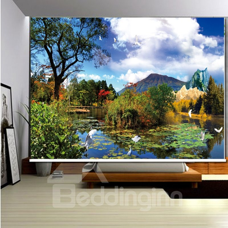 3D Blue Sky and White Clouds with Trees and Mountains Printed Blackout Roller Shades