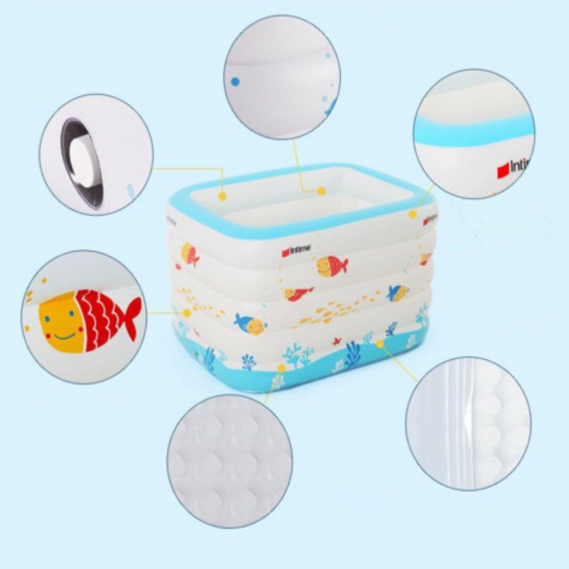 56*41*31in Fish Pattern Portable Inflatable PVC White SPA Bathtub