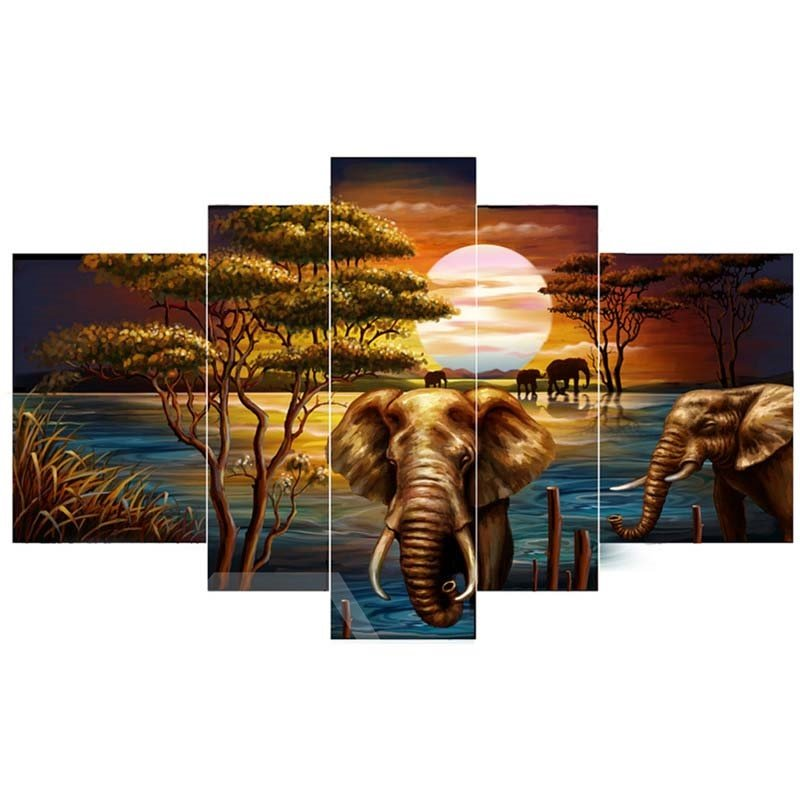 Sunset and Elephant beside Lake Hanging 5-Piece Canvas Eco-friendly and Waterproof Non-framed Prints