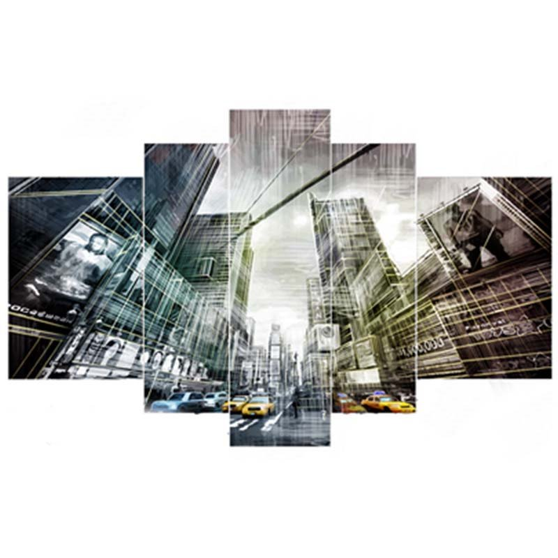 Cars and Buildings Hanging 5-Piece Canvas Eco-friendly and Waterproof Non-framed Prints