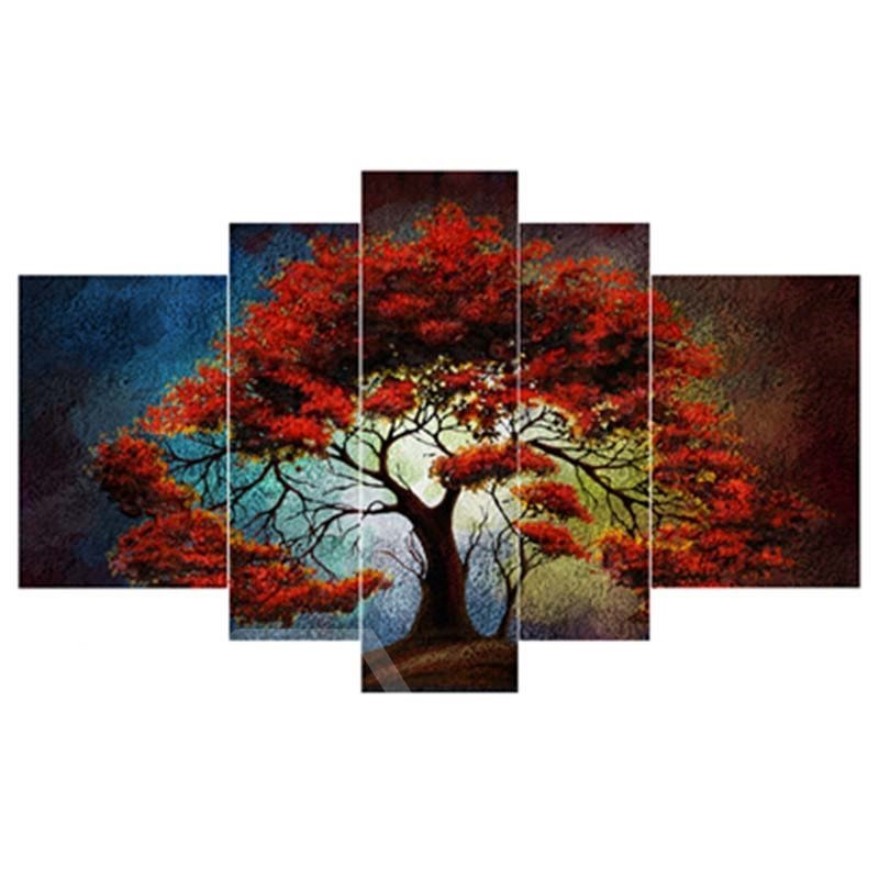 Red Tree Hanging 5-Piece Canvas Eco-friendly and Waterproof Non-framed Prints