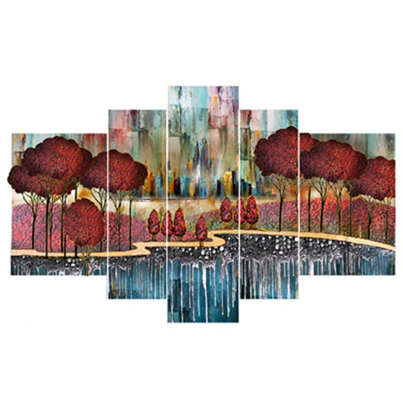 Red Trees and Lake Hanging 5-Piece Canvas Eco-friendly and Waterproof Non-framed Prints