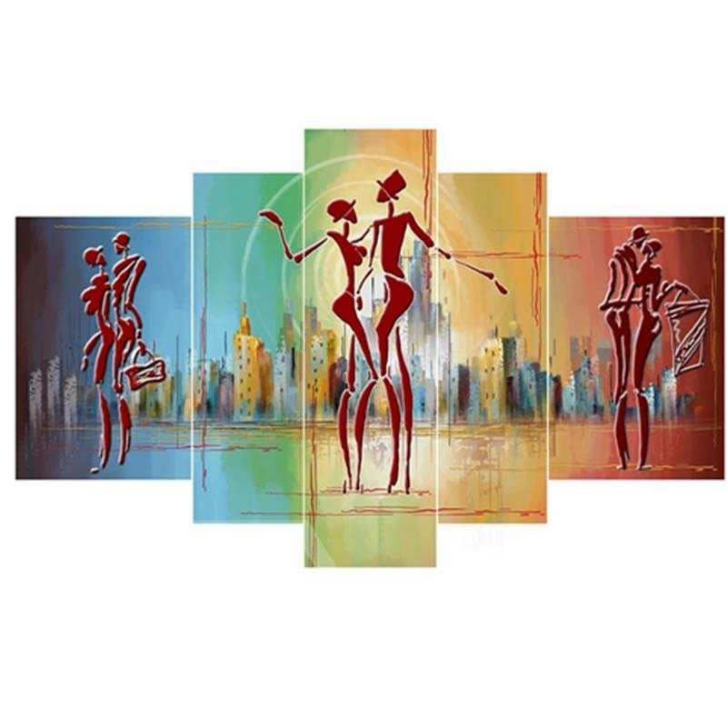 Three Couples Dancing Hanging 5-Piece Canvas Eco-friendly and Waterproof Non-framed Prints