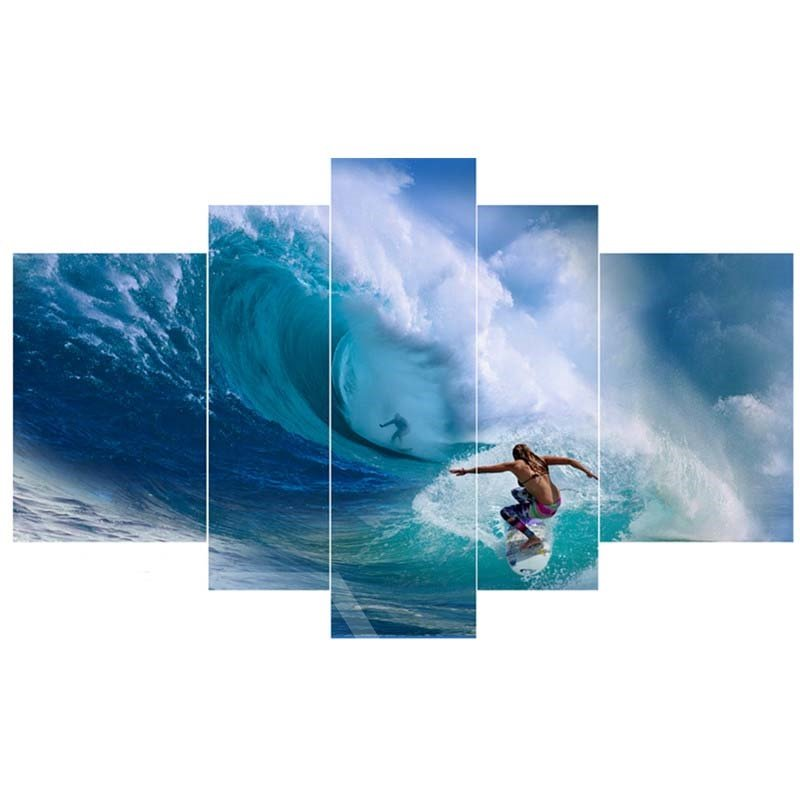 Surfing on Blue Sea Hanging 5-Piece Canvas Eco-friendly and Waterproof Non-framed Prints