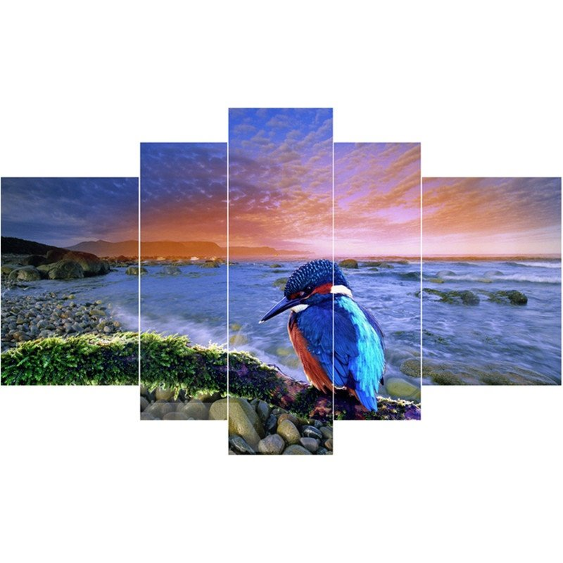 Bird on Stones and Sea Hanging 5-Piece Canvas Eco-friendly and Waterproof Non-framed Prints