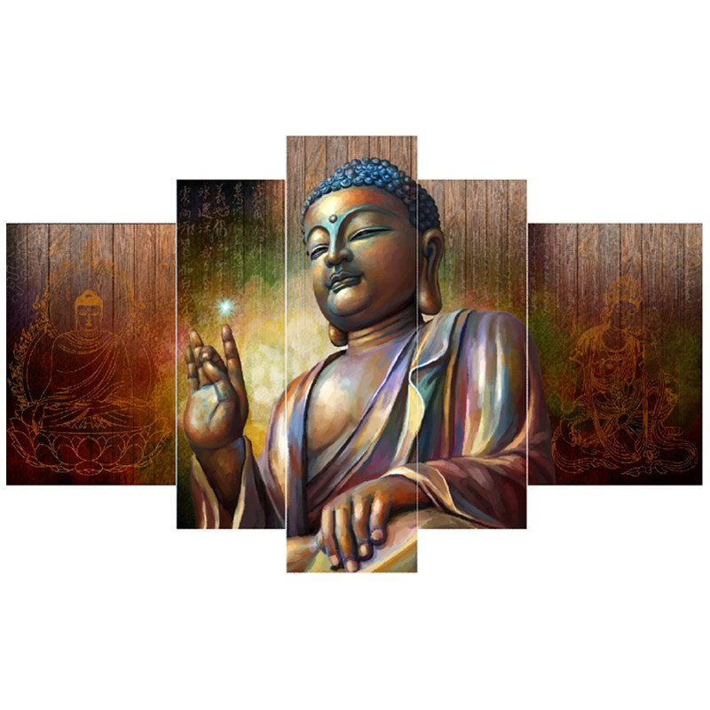 Chinese Buddha Hanging 5-Piece Canvas Eco-friendly and Waterproof Non-framed Prints