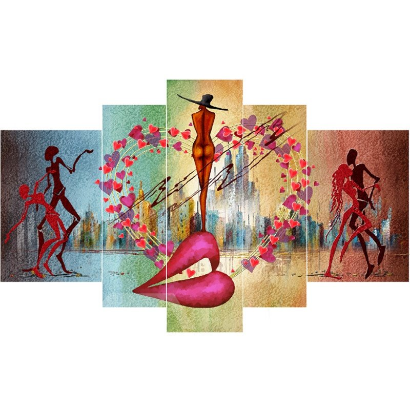 Dancers and Hear Shape Hanging 5-Piece Canvas Eco-friendly and Waterproof Non-framed Prints