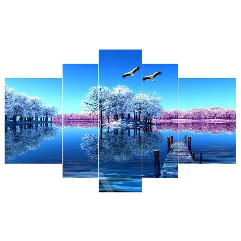 Blue Lake and Sky Hanging 5-Piece Canvas Eco-friendly and Waterproof Non-framed Prints