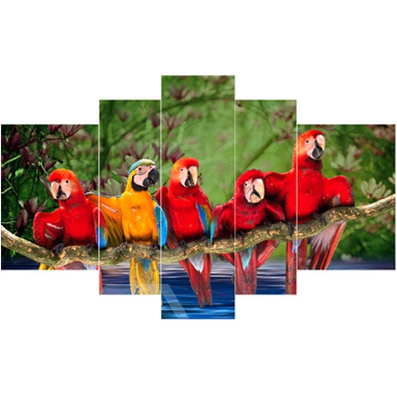 Red and Yellow Parrots on Branches Hanging 5-Piece Canvas Waterproof Non-framed Prints