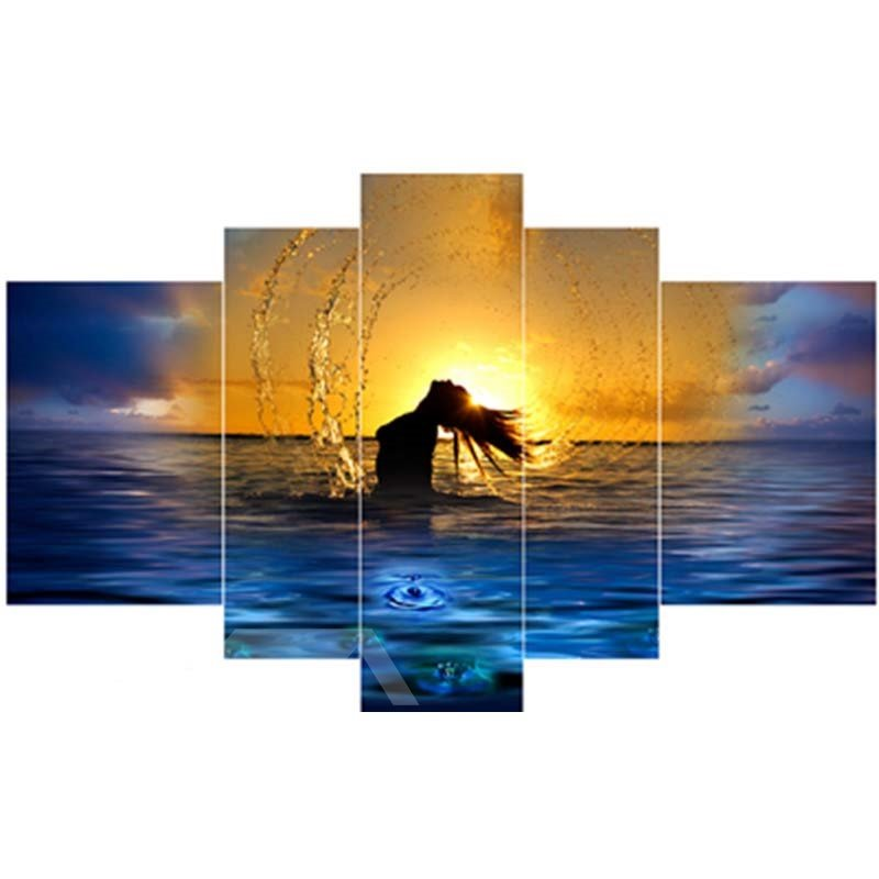 Girl in Sea and Sunrise Hanging 5-Piece Canvas Eco-friendly and Waterproof Non-framed Prints