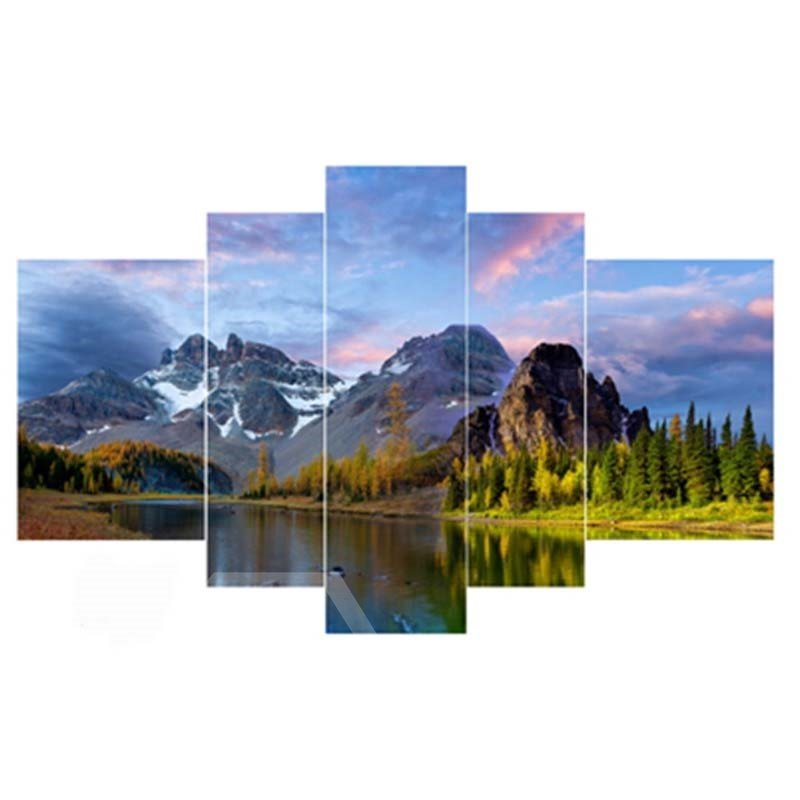Mountains Surrounding Lake Hanging 5-Piece Canvas Eco-friendly and Waterproof Non-framed Prints