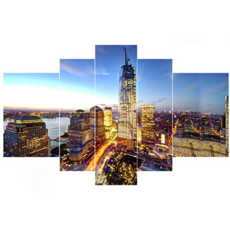 Architectures in City Night Hanging 5-Piece Canvas Eco-friendly and Waterproof Non-framed Prints