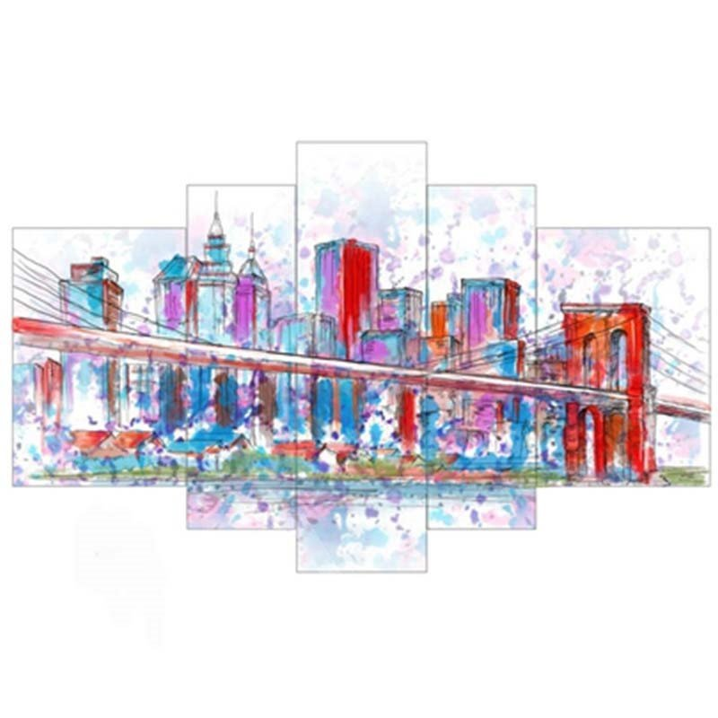 Architectures and Bridge Hanging 5-Piece Canvas Eco-friendly and Waterproof Non-framed Prints