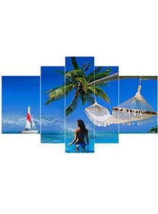 Girl in Blue Sky and Sea Hanging 5-Piece Canvas Eco-friendly Waterproof Non-framed Prints