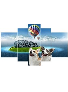 Dogs and Parachute beside Lake Hanging 5-Piece Canvas Eco-friendly and Waterproof Non-framed Prints
