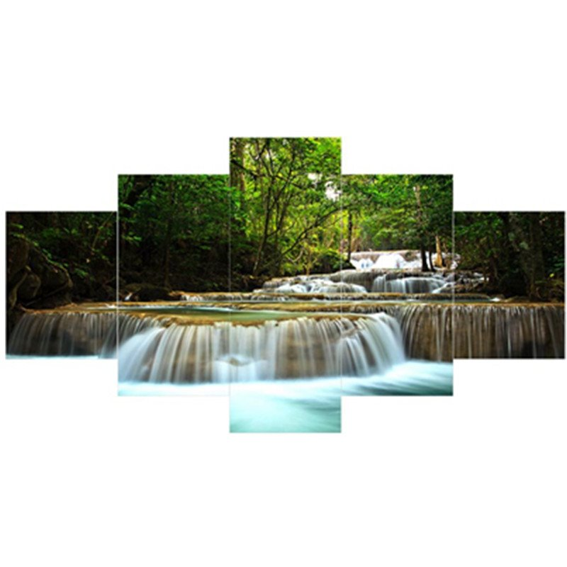 Waterfall in Forest Hanging 5-Piece Canvas Eco-friendly and Waterproof Non-framed Prints