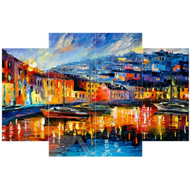 Architectures beside Lake Hanging 4-Piece Canvas Waterproof and Eco-friendly Non-framed Prints