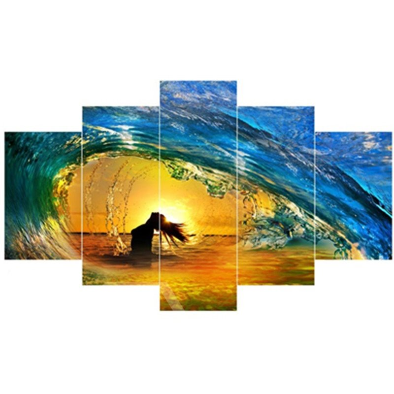 Sunrise and Girl in Tide Hanging 5-Piece Canvas Eco-friendly and Waterproof Non-framed Prints