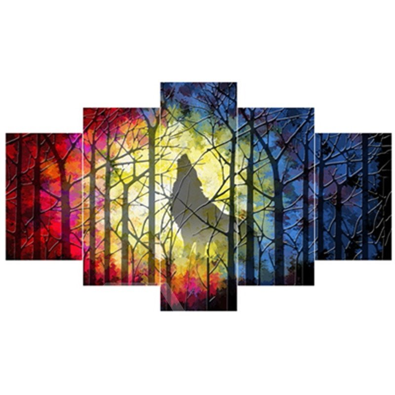 Wolf Roaring in Forest Hanging 5-Piece Canvas Non-framed Wall Prints