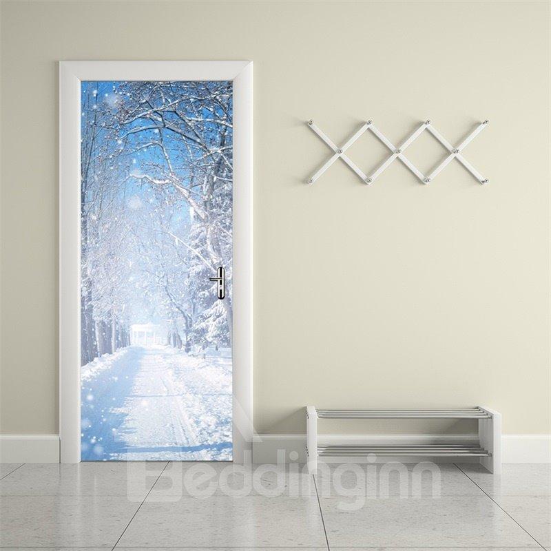 30×79in White Snow Flying in Sky PVC Environmental and Waterproof 3D Door Mural