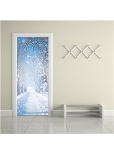 30×79in White Snow Flying in Sky PVC Environmental and Waterproof 3D Door Mural