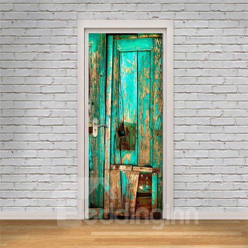 30×79in Green Wooden Door PVC Environmental and Waterproof 3D Door Mural