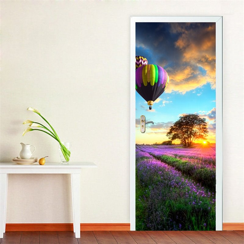30×79in Lavender Field and Parachute PVC Environmental and Waterproof 3D Door Mural