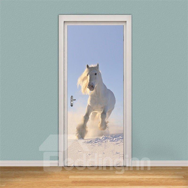30×79in White Running Horse PVC Environmental and Waterproof 3D Door Mural
