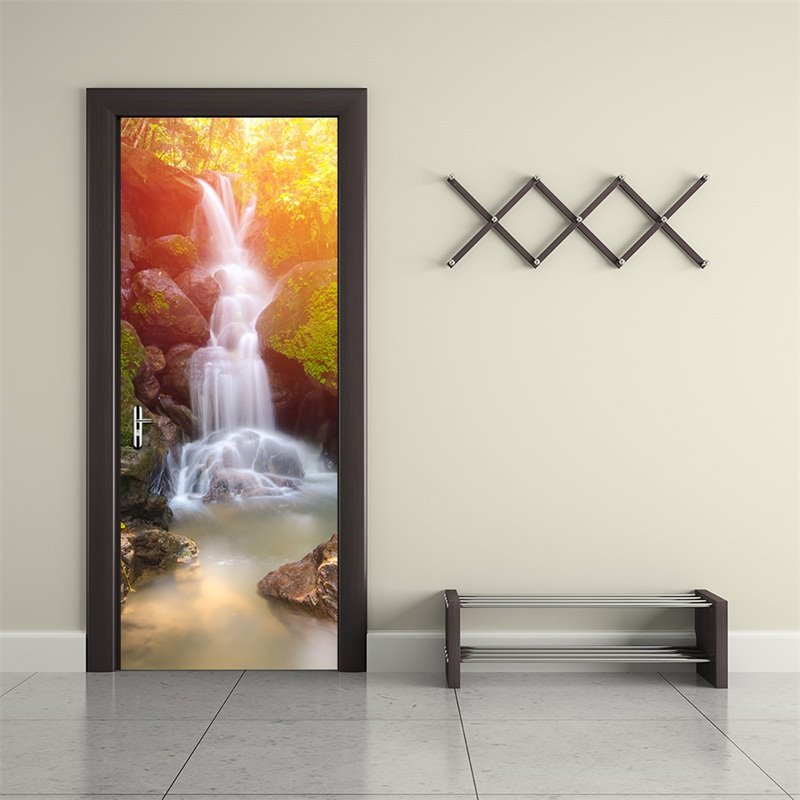 30×79in Waterfall and Sunshine PVC Environmental and Waterproof 3D Door Mural