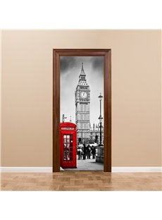 30×79in Red Telephone Box and Mark Building PVC Waterproof 3D Door Mural