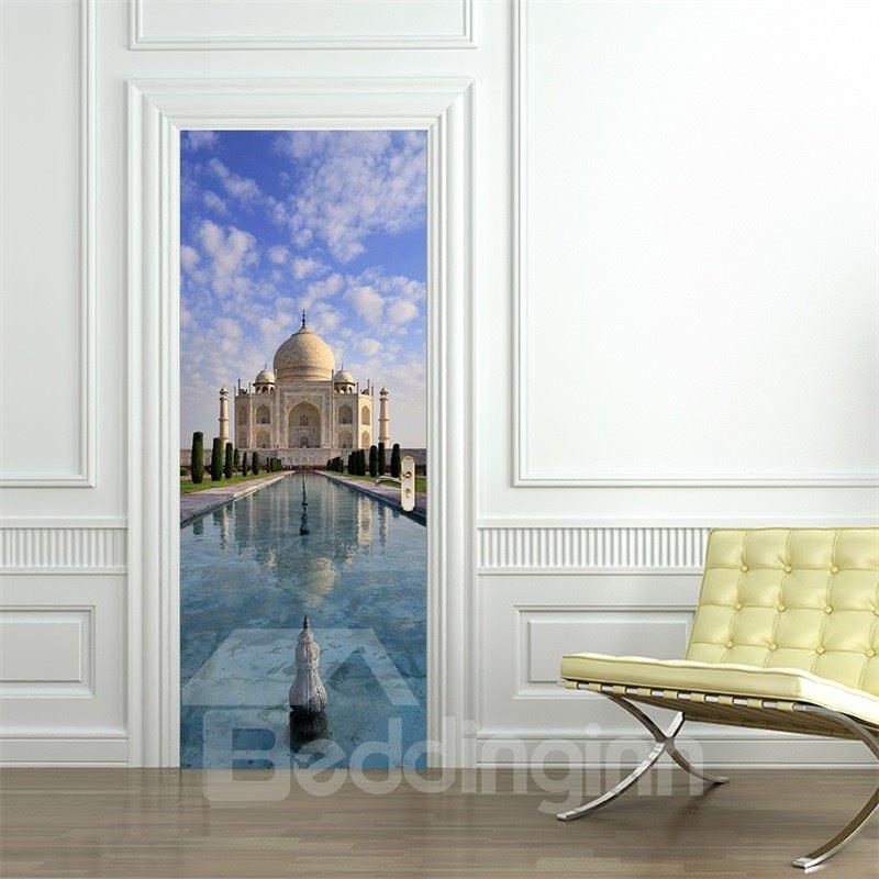 30×79in White Church under Blue Sky PVC Environmental and Waterproof 3D Door Mural