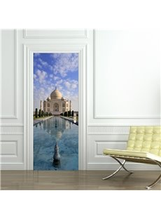 30×79in White Church under Blue Sky PVC Environmental and Waterproof 3D Door Mural