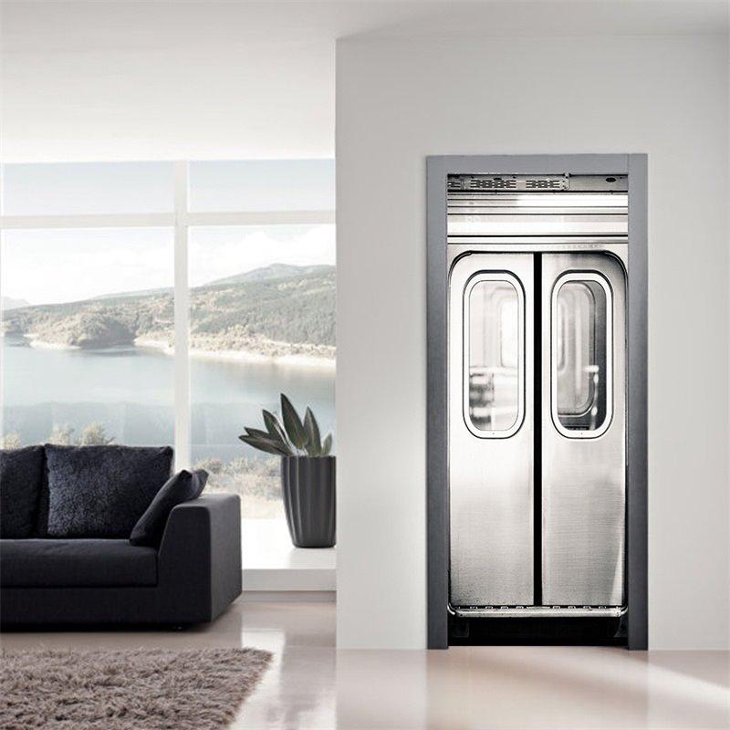 30×79in Silver Door with Glass PVC Environmental and Waterproof 3D Door Mural