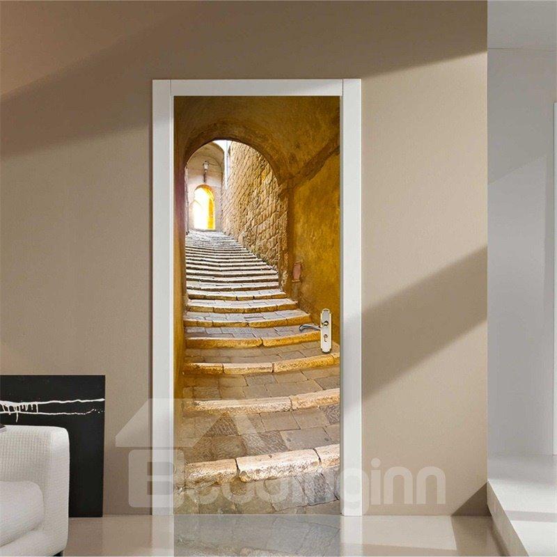 30×79in Stone Stairs European Style PVC Environmental and Waterproof 3D Door Mural