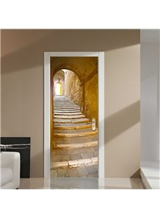 30×79in Stone Stairs European Style PVC Environmental and Waterproof 3D Door Mural