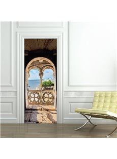 30×79in Arch Door and Blue Sea PVC Environmental and Waterproof 3D Door Mural
