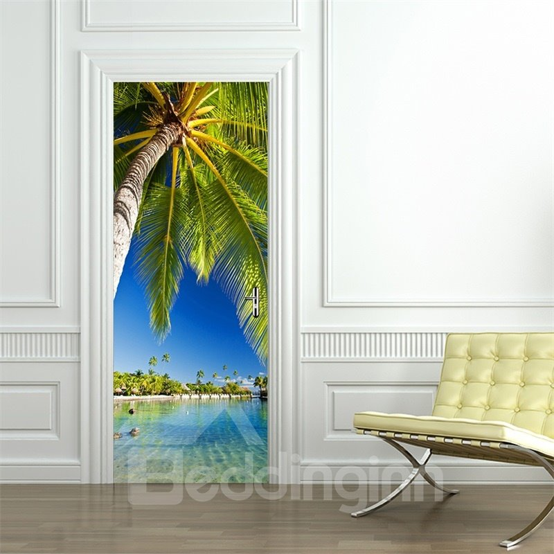 30×79in Palm and Blue Sky PVC Environmental and Waterproof 3D Door Mural