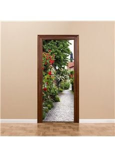 30×79in Stone Path Surounded by Flowers PVC Environmental and Waterproof 3D Door Mural