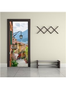 30×79in Town Surrounded by Mountains PVC Environmental and Waterproof 3D Door Mural