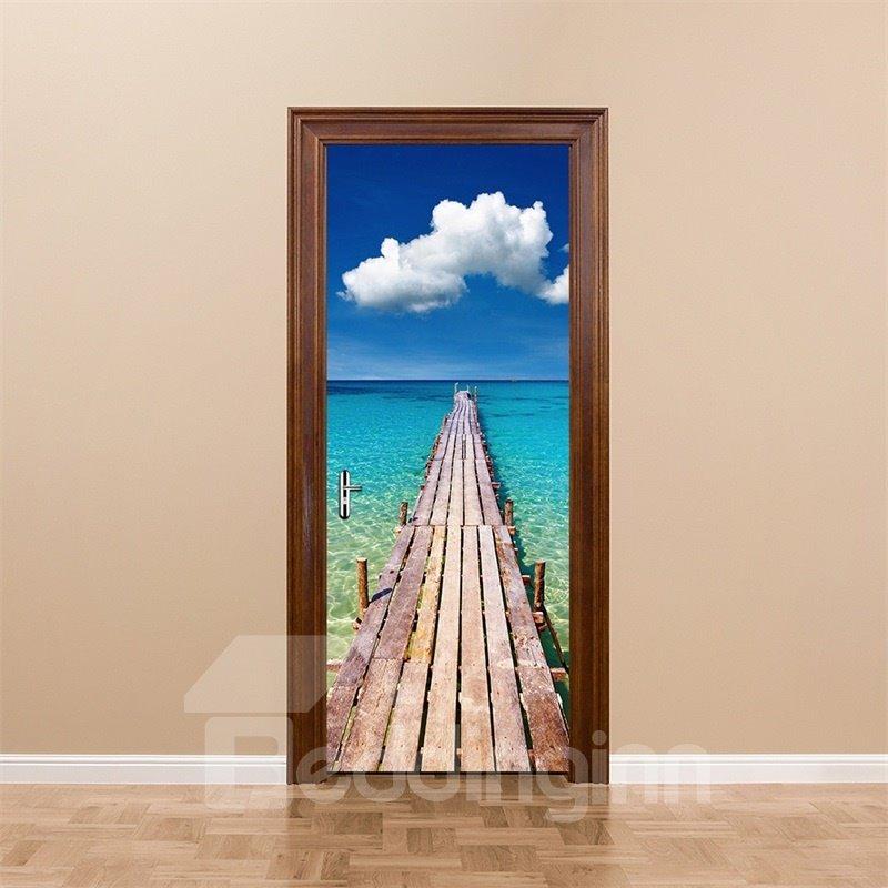 30×79in Wooden Path over Blue Sea PVC Environmental and Waterproof 3D Door Mural