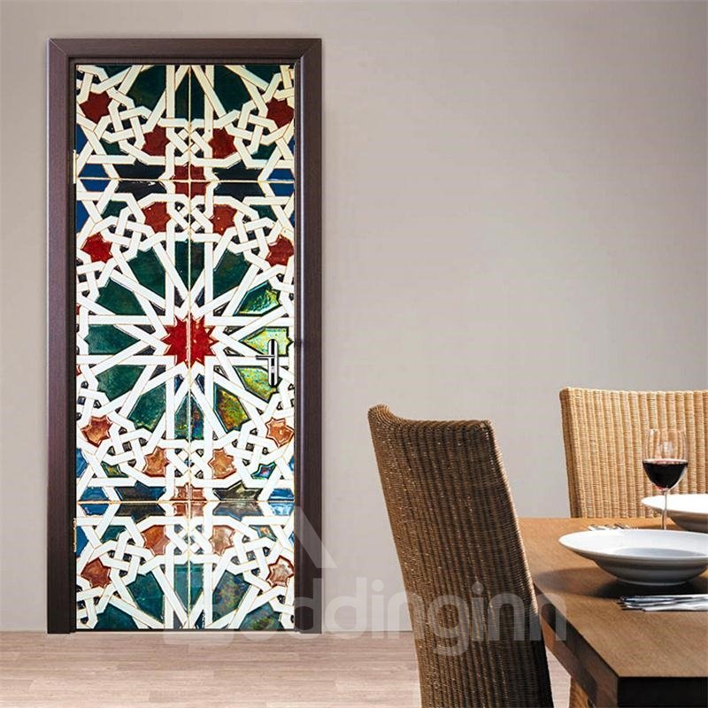 30×79in Bohemian Style PVC Environmental and Waterproof 3D Door Mural