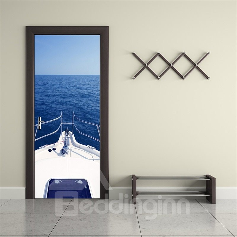 30×79in Blue Sea and Sailing Yacht PVC Environmental and Waterproof 3D Door Mural